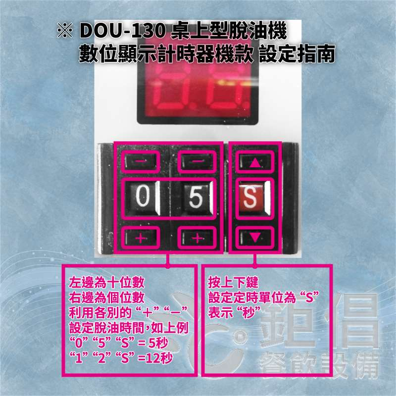 DOU-130 桌上型脫油機 計時器設定說明書/定時器設定說明書/計時器怎麼用/定時器怎麼用/計時器操作說明書/定時器操作說明書/計時器操作教學文件/定時器操作教學文件